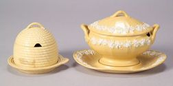 Two Wedgwood Smear Glazed Caneware Items