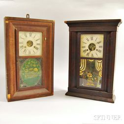 Two Mahogany Veneer Shelf Clocks