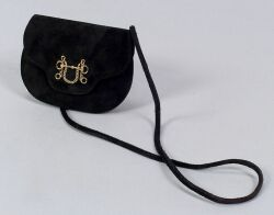 "Black Suede ""Pouchette"" Purse"