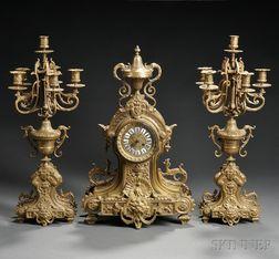 Three-piece Japy Freres Bronze Clock Garniture