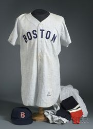 1955 Ted Williams/Boston Red Sox Wool #9 Game Worn Jersey, 1956 Johnny Schmitz/Boston Red Sox Game Worn Pants, with a Cap and Leggings