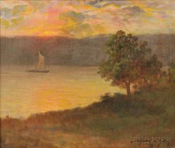 Bayard Henry Tyler (American, 1855-1931)    Sailboat at Sunset