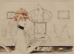Paul César Helleu (French, 1859-1927)      Madame Helleu écrivant à sa table - les tanagras