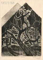 Francisco Amighetti (Costa Rican, 1907-1998)      Niños Monos y Claro de Luna