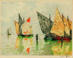 Hans Figura (Austrian, b. 1898)      Moored Sailboats.