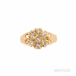 Antique Gold and Diamond Cluster Ring