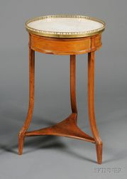 Louis XVI Brass-mounted and Marble-top Fruitwood Guéridon