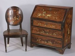 Italian Ivory and Fruitwood Marquetry Inlaid Fruitwood Slant Lid Desk and Side Chair