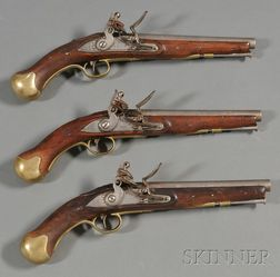 Three Marine Flintlock Pistols