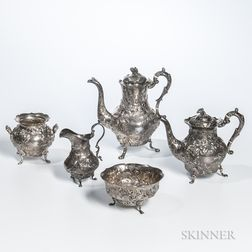 Five-piece Coin Silver Tea and Coffee Service