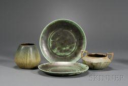 Two Shearwater Plates; Fulper Bowl and Weller Vase