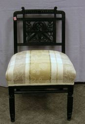 Victorian Aesthetic Upholstered Ebonized Slipper Chair.