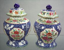 *Pair Copeland Spode Earthenware Ginger Jars