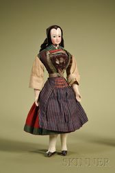 Rare Papier-mache Doll with Molded Bonnet