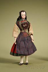 Rare Papier-mache Doll with Molded Bonnet