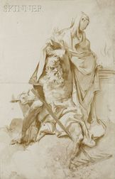 Italian School, 17th/18th Century      Two Classical Figures at an Altar