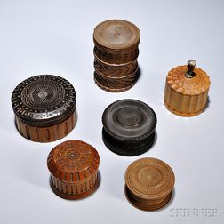 Six Ornamentally Turned Items, 20th century, including five boxes with friction-fit lids, one with a stone and brass handle, and a soli