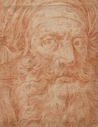Manner of Giovanni Domenico Tiepolo (Italian, 1727-1804)      Head of a Bearded Man in a Turban (Possibly a Prophet)