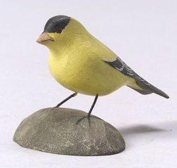 Jess Blackstone Carved Miniature Goldfinch Figure