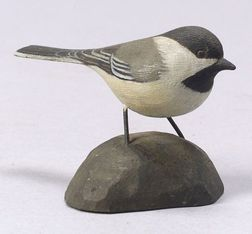 Jess Blackstone Carved Miniature Chickadee Figure