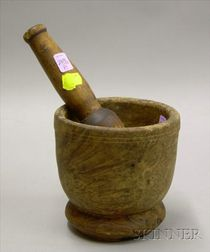 Wooden Mortar and Pestle.