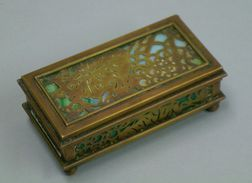 Tiffany Studios Pinecone Decorated Green Slag Stamp Box