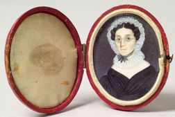American School, 19th Century    Miniature Portrait of a Woman.