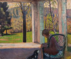 Kenneth Frazier (American, 1867-1949)    Woman Seated in a Wicker Chair with a Dog