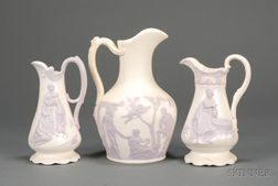 Three Samuel Alcock & Co. Parian Pitchers