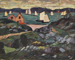 Leighton Cram (American, 1895-1981)      View of Gloucester Harbor