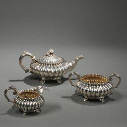 Three-piece George IV Sterling Silver Tea Service