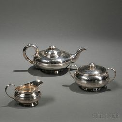 Assembled Three-piece George IV/William IV Sterling Silver Tea Service