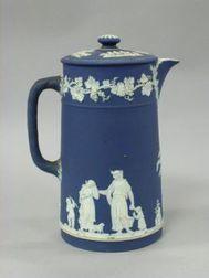 Wedgwood Dark Blue Jasper Dip Chocolate Pot.