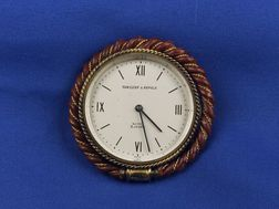 18kt Gold and Leather Travel Clock