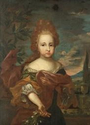 Continental School, 18th Century Style  Young Girl Before a Vast Landscape