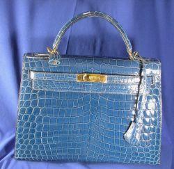 "Blue Alligator ""Kelly"" Handbag, Hermes"