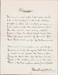 Aldrich, Thomas Bailey (1836-1907) Autograph Fair Copy of the Poem, Fredericksburg.