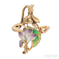 Art Nouveau 18kt Gold and Plique-a-jour Enamel Ring,