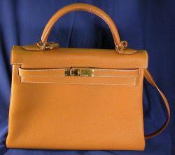 """Brown Leather """"Kelly"""" Handbag, Hermes"""