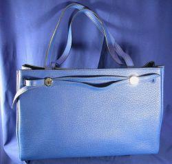 "Blue Leather ""Cabana"" Handbag, Hermes"