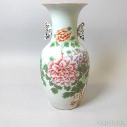 Large Chinese Floral-decorated Porcelain Handled Vase