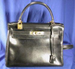 "Black Leather ""Kelly"" Handbag, Hermes"