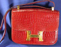 """Red Alligator """"Constance"""" Handbag, Hermes"""