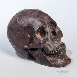 Cast and Patinated Bronze Human-form Skull