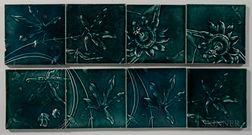 Eight J. & J.G. Low Art Tile Works Floral Art Pottery Tiles