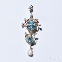 Edwardian 14kt Bicolor Gold, Aquamarine, Diamond, and Pearl Lavaliere