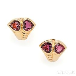 18kt Gold and Tourmaline Earclips, Bulgari