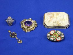 Cameo, Amethyst and Seed Pearl Pin, Diamond Ring, Etc.