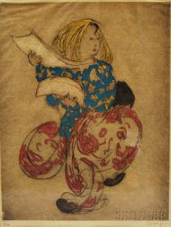 Framed Elyse Ashe Lord (British, 1900-1971) Fan Dancer Etching and a Carved Cat
