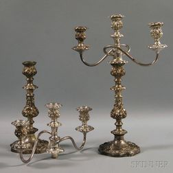 Pair of Silver-plated Three-light Convertible Candelabra